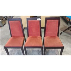 THREE UPOLSTERED MODERN DINING CHAIRS
