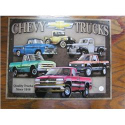 Chev Trucks Tin Sign since 1918 repro