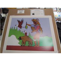 "Norval Morrisseau Limited Edition Unframed print ""The Bear Claw""20x24"