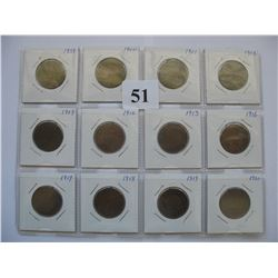 Lot of 12 Canadian Large Cents  (1859-1920)