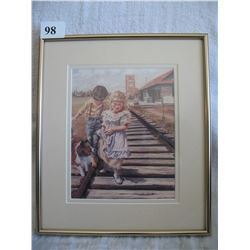 Debbie Edlin Framed Print  (Frame 9 1/2 by 11 inches) - Racing the Rails