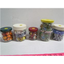 5 Jars Sorted Marbles includes Shooter Marbles