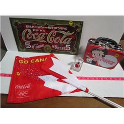 Coca Cola Lot (MARBLE,repro sign,flag lunch box (betty boop)