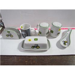 John Deere Dishes-Cup,Shakers,Napkin holder,Butter Dish,etc