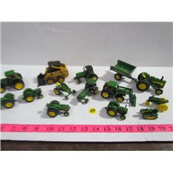 John Deere Miniatures-13 pieces Toy Tractors etc