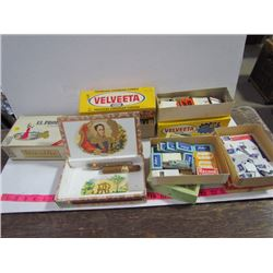 Old Ad Boxes-cigars,old razor blades,Match Collection,Stamps