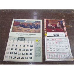 2 Ad Calendars-1936+1948 (Carlton Co Op+New Castle Coal)