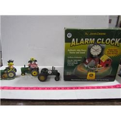John DeereOrnaments (3) + Alarm Clock Still in Box