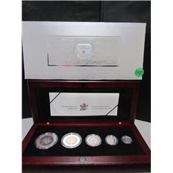 Royal Canadian Mint 2003 Silver Maple Leaf Hologram 1,2,3,4,5 $ Coin -in wooden box