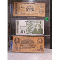 $2/$100 Bills-Tenessee Louisiana,1 Bill from Ireland *top and botttom copies