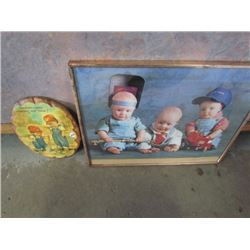 1 Framed Baby Welding Picture+Wooden Wall Hanging