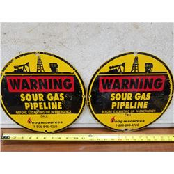 Tin Pair of Sour Gas Pipeline Signs