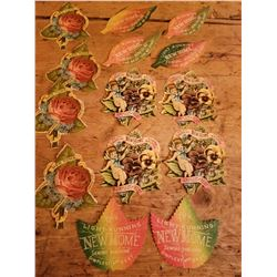 14-1890's New Home Sewing Machine Die Cut Advertising Papers