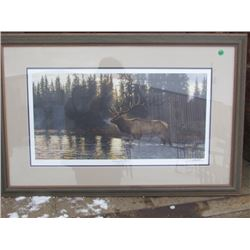 """Picture and Frame Ducks Unlimited 2001 """"Crossing the River"""" Bruce Miller"""