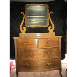 Oak Dresser and Mirror - Curved Front