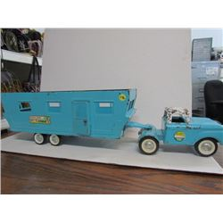 Blue Nylint truck and trailer