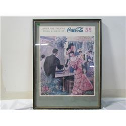 Coca Cola Picture and Frame 19x25