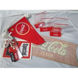 Lot of Coke Collectables Banner Flag, Stickers, Menu holders etc.