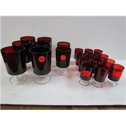 Royal Ruby Glasses -Box of 12 30oz wine,6 Footed tumblers,2 footed tumblers,all with chrystal bases