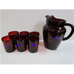 Royal Ruby Large Pitcher + 6 Tumblers