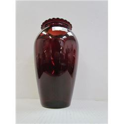 "Royal Ruby 9"" Vase with Label"