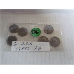 Display 6 USA Steel 1c Coins 1943
