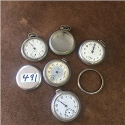Lot Of Pocket Watches + Parts