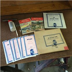 Lot of Esso Collectibles-maps,lighter,tire,warranties,pencil,keychain