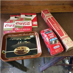 Lot of Coca Cola Collectibles-tray,tin,Cups,etc