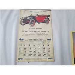 Central Tire +Battery- Regina 1915 Calendar Repro Old Cars