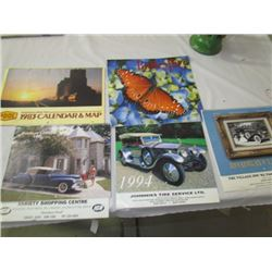 5 Calendars -Old cars,Sask wheat Pool, Butterflies