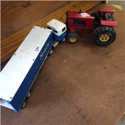 Tonka Tractor +Sears Truck and Trailer-missing rear doors