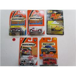 4 Matchbox-Fire Quencher,Highway Rescue,Cyclone Radar,Snorkel Fire Truck 1 Motorworks-Carvelle