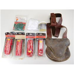 LEATHER POSSIBLES BAG WITH MUZZLELOADING ACCESSORIES