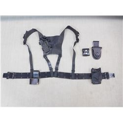 ASSORTED BLACK HOLSTERS & POUCHES
