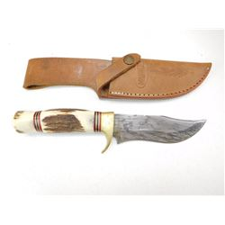 MARBLES STAG HANDLE HUNTING KNIFE DAMASCUS BLADE