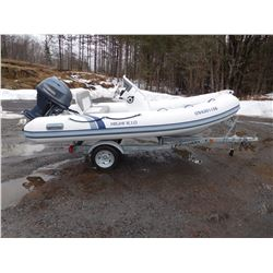 2014 HIGHFIELD 390 OM PVC BOAT, MOTOR AND TRAILER