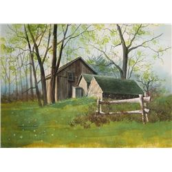 James Feriola, Spring Farm, Watercolor on Paper, Signed in Black Ink