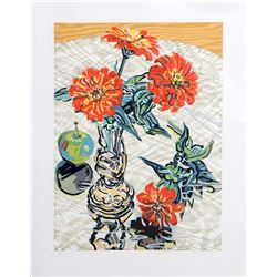 Janet Fish, Apples and Zinnias, Woodcut on Japon paper