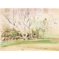 Marshall Goodman, Tree in Early Spring, Watercolor on Paper, signed