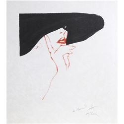 Rene Gruau, Woman in a Black Hat, Lithograph on Japon