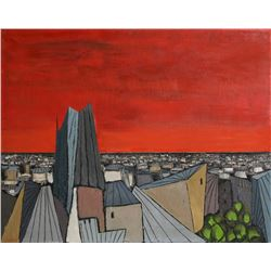 Alvaro Guillot, De Rouge Sur La Ville, Oil on Canvas, signed u.r.