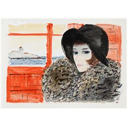Charles Levier, Portrait of Woman in Black Hat, Watercolor on Paper