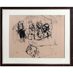 Jack Levine, Funeral, Gouache on Paper, signed