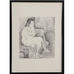 Raphael Soyer, Seated Nude, Rose Stockings (Black and White), Lithograph