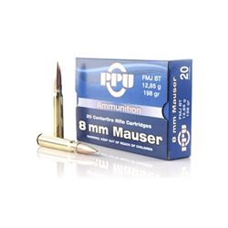 PPU 8MM MAUSER FMJ 198GR - 200 Rounds