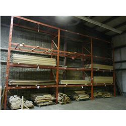 4 SECTIONS OF ORANGE PALLET RACKING W/BEAMS