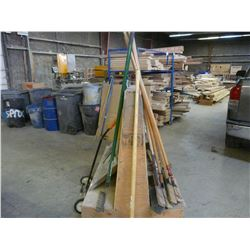 LOT OF BROOMS, SHOVELS & GARBAGE CANS