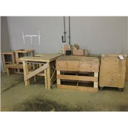 ASSORTED WOOD TABLES  AND STANDS