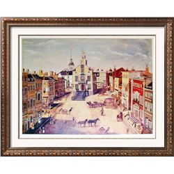 1989 Old State House Boston James B Marston Early 19Th Century Scene